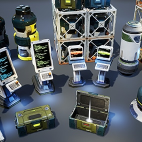 Asset contains pack of props models (aerials, lockers, boxes, containers, terminals, solar panels) intended to use in sci-fi locations.