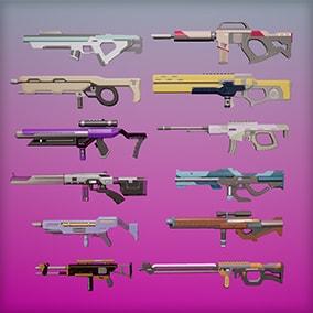 12 Rifles. 4k Textures. Animations. Particles. Customizable colors, emissive.