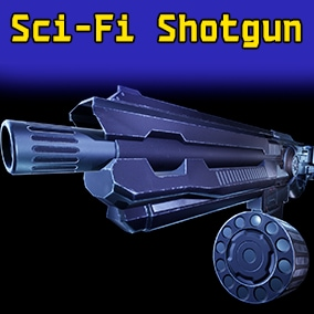 Introducing the low poly sci-fi shotgun with animations.