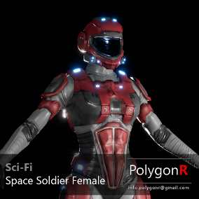 Sci Fi space soldier female rigged for the Epic Skeleton