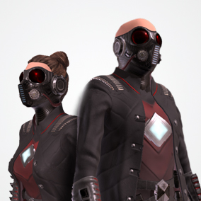 Great sci-fi suit AC-1 modular pack (male and female versions) optimized for game projects.