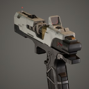 A mini Scifi weapon pack containing a sniper rifle, a pistol and a knife