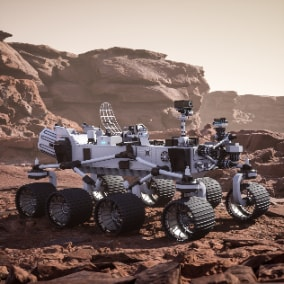Playable Mars Rover. Customizable materials. 3 Wheel types. 4K Textures. Ready to use as a Pawn.