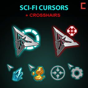 55 hand-painted cursors and hand-painted 48 cross-hairs in sci-fi style