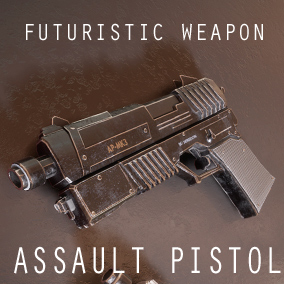 The sci-fi assault pistol is a futuristic conventionally designed weapon with 5 Variations and a used look and feel.  Includes a skeletal mesh with animations and separate parts.