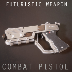 The combat pistol is a futuristic conventionally designed weapon with 4 Variations and a used look and feel.  Comes as a skeletal mesh and separate parts.