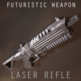 The laser rifle is a futuristic weapon with 5 Variations and a used look and feel.  Comes as an animated skeletal mesh and separate parts.