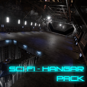 The Modular Sci-Fi Hangar Pack is designed in a flexible way. You can modify the environmental plane, walls and floor panels according to your project's theme.