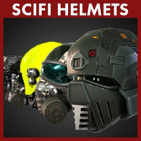 This package contains eight high quality helmets for present or scifi games.