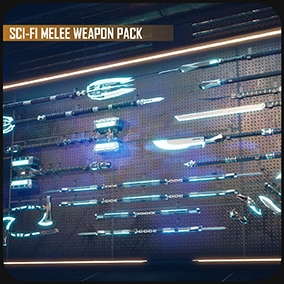 Sci-fi melee weapon pack with customizable material parameters