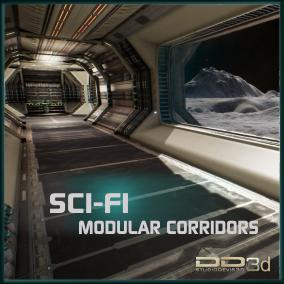 Futuristic modular corridors for interior with its corresponding exterior part.