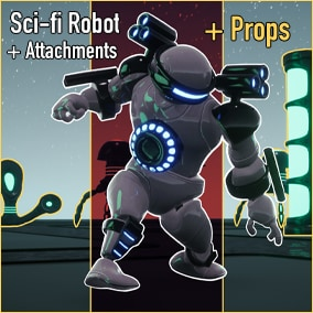 Sci-fi Robot Character + Character Attachments + Sci-fi Props
