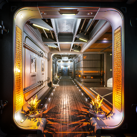 Sci-fi rooms and corridors - residential\recreation areas of futuristic environments. Built as the interiors of space station in Earth orbit