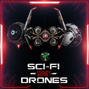 A set of 3 high quality Sci-fi Surveillance Drones for your next AAA-Game. That can be used as a companion for a player or enemy NPC.