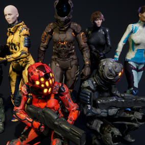 This pack contains scifi female characters with different designs.
