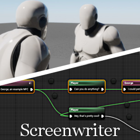 Screenwriter is a tool for creating Screenplay, which could be Dynamic Cutscenes, Interactive Character Dialogue or even complete story progression, that can be easily integrated with your existing game systems.