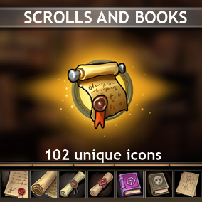 Set of 102 hand drawn Scrolls and Books Icons.