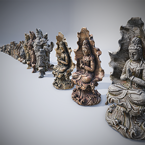 Pack contains 14 models of statues. Each statue has 3 variations of materials in 4K resolution. Models have LODs.