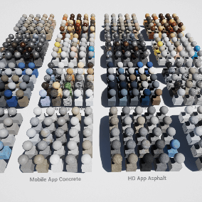 A Package of 400 highly customizable material instances with seamless textures. The pack includes a set of 200 material instance versions for windows/console, and an additional set of 200 material instance versions for mobile devices.