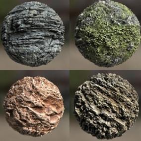 10 seamless rock face PBR material set