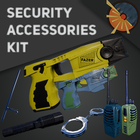 Taser gun, baton, handcuffs, radio, flashlight. Ability to choose custom colors for textures.