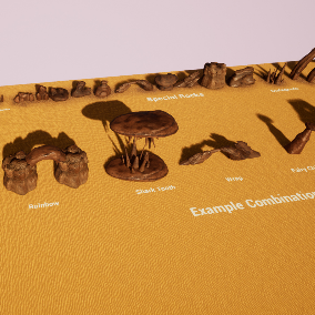 This pack includes 31 Level Design Rocks for Desert/Canyon/Cave Environments.