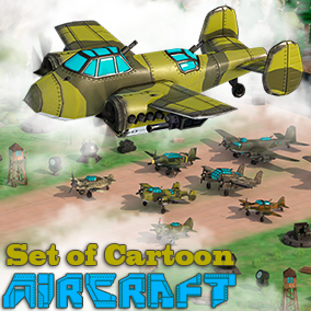 8 unique low-poly 3D models of aircraft in the cartoon style and 5 animations for them. There are also additional props models: anti-aircraft guns, radar, tower, hangars and barracks.