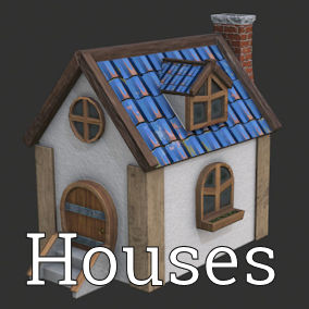 Set of Houses & additional objects with Materials and Textures (2048x2048).