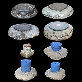 Photoscanned Russian Sewer and Gas Hatches