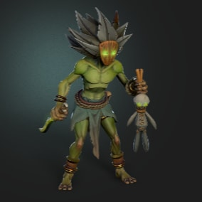 Low-poly 3D-model of the character Shaman