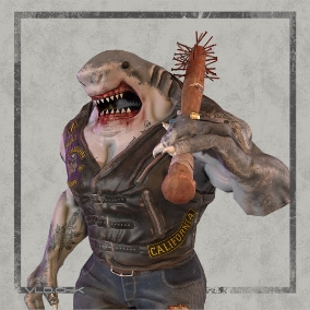 Low-poly model of the character SharkBiker