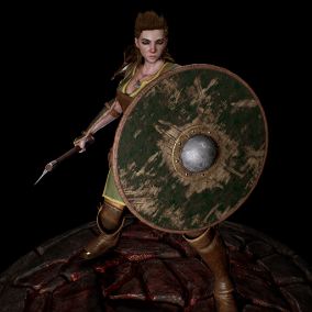 An axe and shield wielding game-ready warrior inspired by viking legend ready to raid and slay enemies in your games.