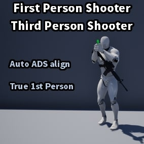 Character+Gun+Anim system with ADS auto-aligning, gun customization system, True 1P character, replication, and many other customizable features. FPS / TPS