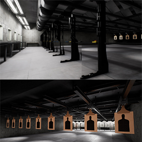 A modern, indoor shooting range scene.