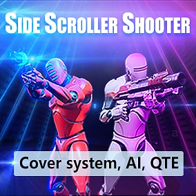 Side scroller shooter kit serves as a base for side scroller game. It's a 100% blueprint project, with documentation and notes inside blueprints. 