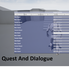 Nonlinear dialogue tree system with quests.