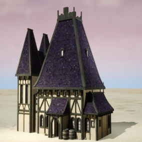 A group of medieval buildings used for ray tracing and ue5 projects.