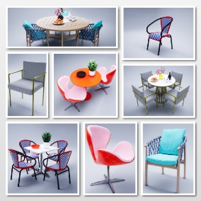 A group of modern tables and chairs