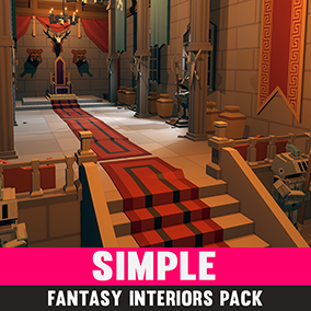 Simple Fantasy Interiors - Cartoon Assets, A simple asset pack of props and rooms to create a fantasy based game. Modular sections are easy to piece together in a variety of combinations.