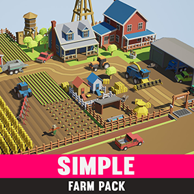 Simple Farm - Cartoon Assets A simple asset pack of vehicles, buildings and props to create a farm based game. Modular sections are easy to piece together in a variety of combinations.