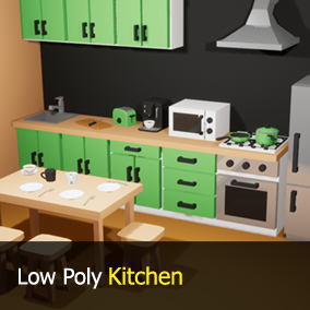 31 stylized low poly kitchen props for your game