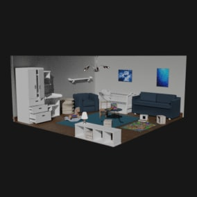SimpleMesh Childroom Interior contains 23 different collections of individual pieces, which can be arranged by your own. (Blueprint actors included)