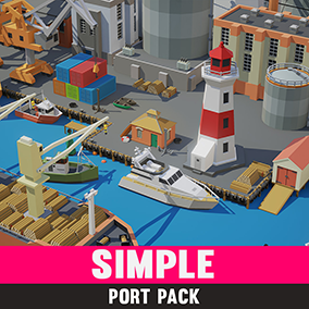 A simple asset pack of boats, buildings and props to add to our other simple asset series.