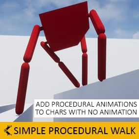A plugin that allows to procedurally animate Characters' Skeletal Meshes so that they appear to be walking. It is particularly targeted at robotic or insectoid creatures, though it can be used in many other scenarios as well.