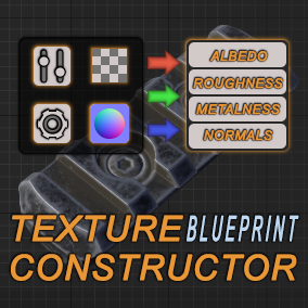 Blueprint suitable for construction of texture by using pre-baked masks and tiles and then saving output on hard drive.