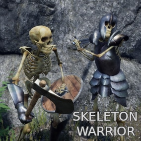 Modular skeleton warrior with different materials and armor pieces to choose and three different set of weapons with their animations.