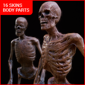 Two Skeleton Zombie models, each with 8 skins. Two variants - One Mesh and broken to Body parts for dismemberment. Open Mouth Morph Target.