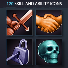 Set of 120 realistic skill and ability icons.