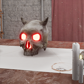 Skulls, columns, walls and other props for the creating of an evil temple