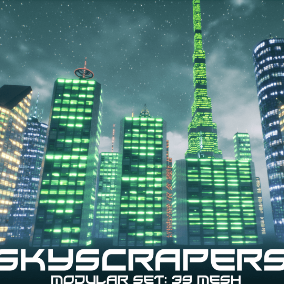 Make your cities more interesting with our great background SkyScrapers!  Collection of 39 Static Meshes, 21 basic to make more variations and 18 combined buildings to give you start point to make your buildings.
